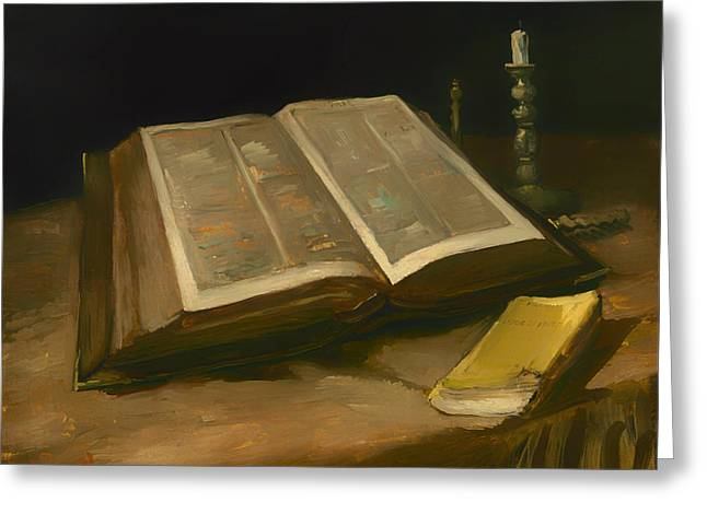 Religious Artwork Paintings Greeting Cards - Still Life with Bible Greeting Card by Vincent van Gogh