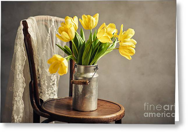 Metal Sheet Greeting Cards - Still Life with Yellow Tulips Greeting Card by Nailia Schwarz