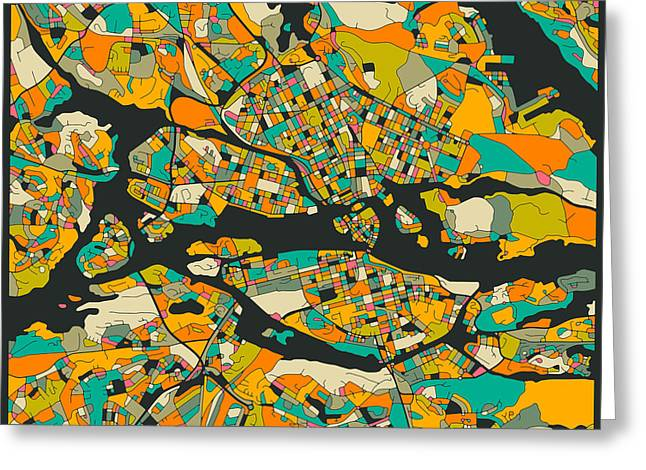 Fine Print Digital Greeting Cards - Stockholm Map Greeting Card by Jazzberry Blue