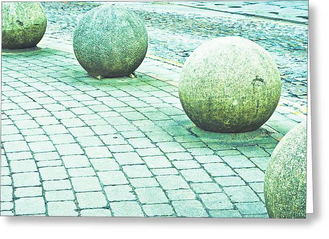 Curve Ball Greeting Cards - Stone balls Greeting Card by Tom Gowanlock