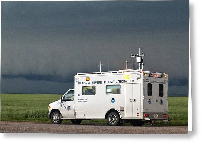 Comand Photographs Greeting Cards - Storm chasing, Nebraska, USA Greeting Card by Science Photo Library