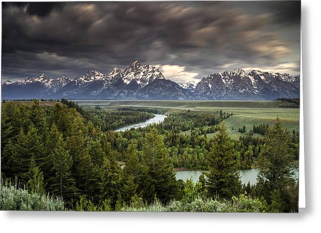 Teton Greeting Cards - Storm over the Tetons Greeting Card by Andrew Soundarajan