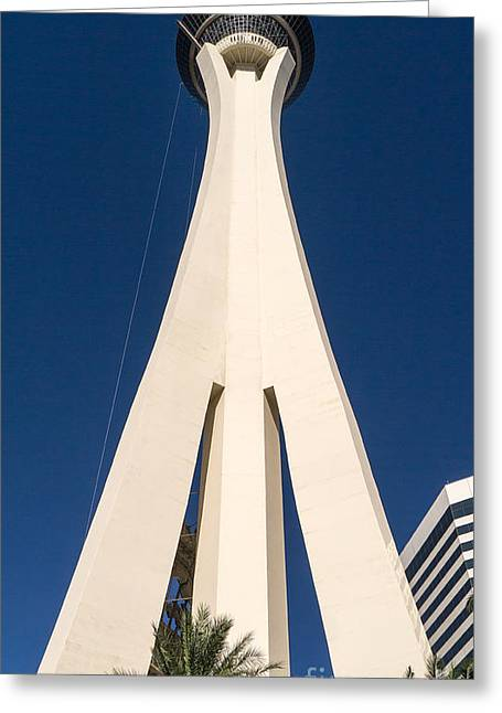 Famous Cities Greeting Cards - Stratosphere Las Vegas Greeting Card by Edward Fielding