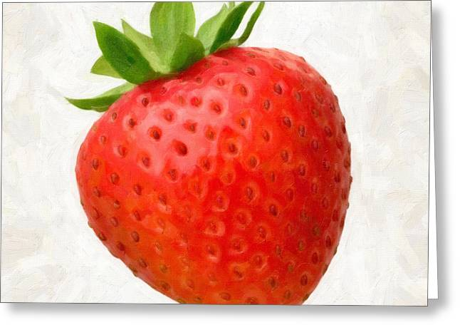 Single Object Paintings Greeting Cards - Strawberry  Greeting Card by Danny Smythe