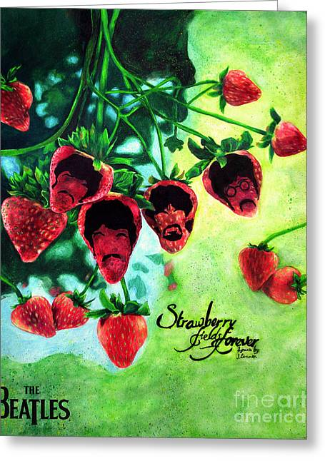 Strawberry Drawings Greeting Cards - Strawberry Fields Forever Greeting Card by Scott Parker