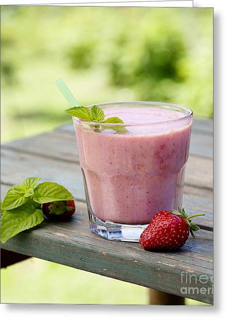 Strawberry Fruit Drink Greeting Card by Mythja  Photography