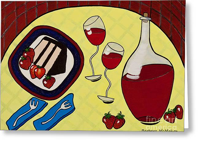 Dessert For Two Greeting Cards - Strawberry Wine Greeting Card by Barbara McMahon
