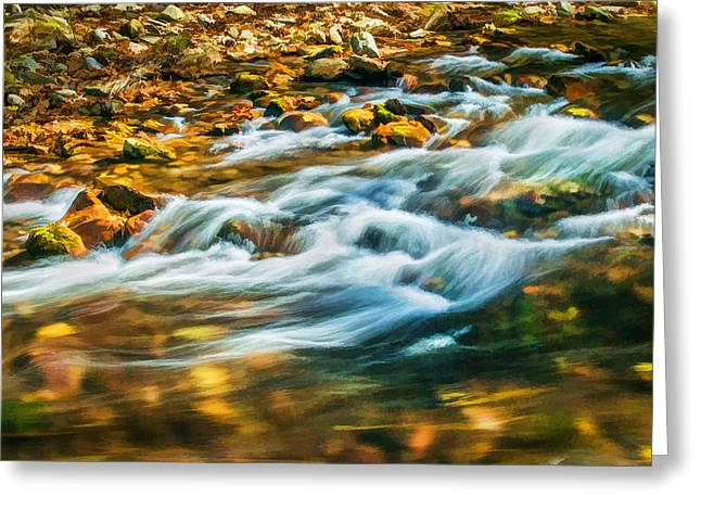 Gatlinburg Tennessee Greeting Cards - Stream Fall Colors Great Smoky Mountains Painted  Greeting Card by Rich Franco