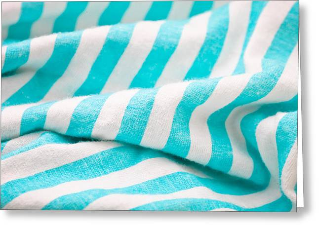 Table Cloth Greeting Cards - Striped cloth Greeting Card by Tom Gowanlock
