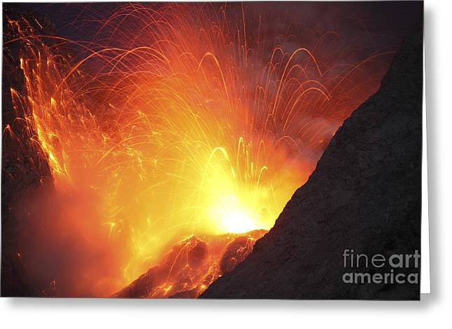 Burst Greeting Cards - Strombolian Type Eruption Of Batu Tara Greeting Card by Richard Roscoe