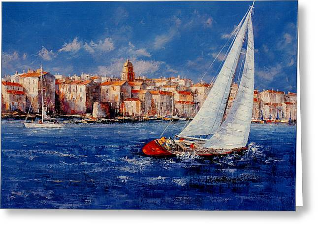 South Of France Greeting Cards - St.Tropez - France Greeting Card by Miroslav Stojkovic - Miro
