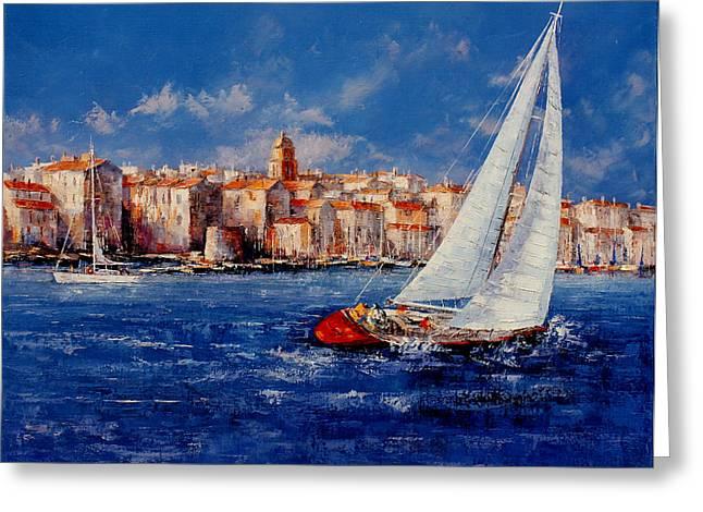 St.Tropez - France Greeting Card by Miroslav Stojkovic - Miro