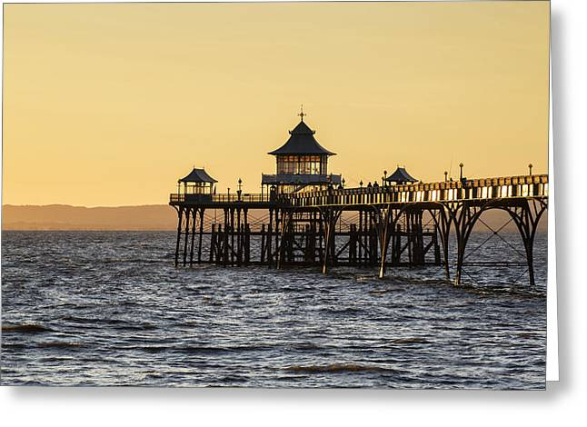 Clevedon Greeting Cards - Stunning landscape image of old pier silhouette against vibrant  Greeting Card by Matthew Gibson