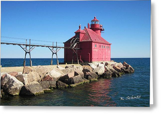 Sturgeon Digital Art Greeting Cards - Sturgeon Bay Lighthouse Greeting Card by Kelly Schutz