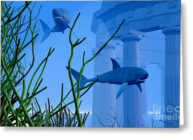 Sea Life Digital Art Greeting Cards - Submerged Greeting Card by Corey Ford