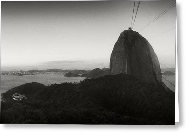 Cable Car Greeting Cards - Sugarloaf Mountain At Sunset, Rio De Greeting Card by Panoramic Images