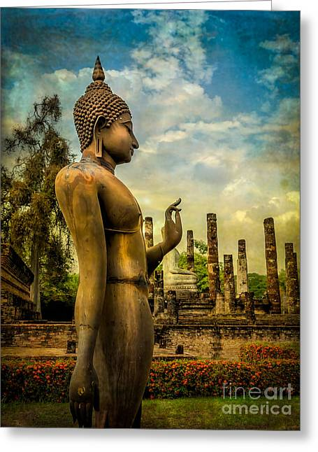 Religious Digital Art Greeting Cards - Sukhothai Buddha Greeting Card by Adrian Evans