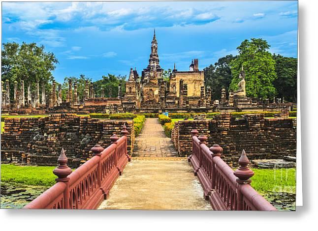 Reflex Greeting Cards - Sukhothai historical park Greeting Card by Anek Suwannaphoom