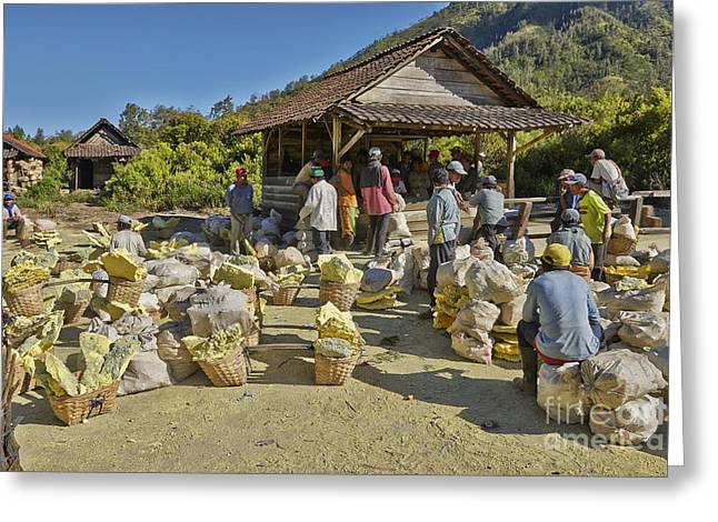 Asien Greeting Cards - Sulfur Mining at Kawah Ijen Greeting Card by Juergen Ritterbach