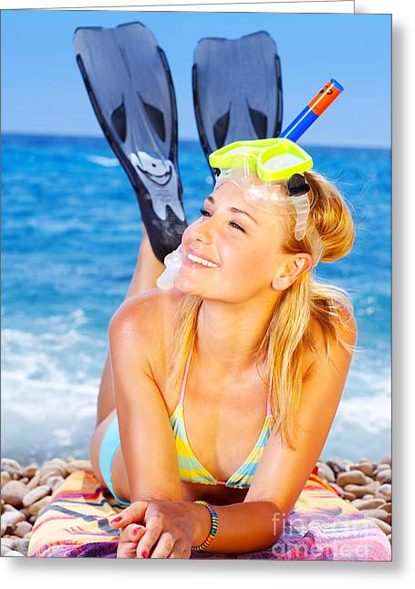 Snorkel Greeting Cards - Summer fun on the beach Greeting Card by Anna Omelchenko
