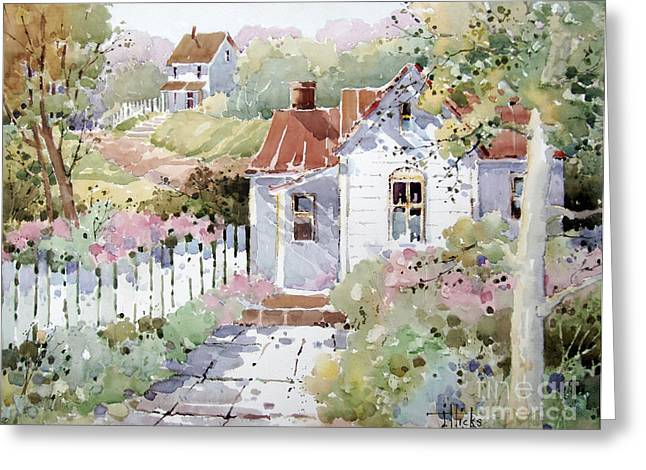 Rose Garden Greeting Cards - Summer Time Cottage Greeting Card by Joyce Hicks