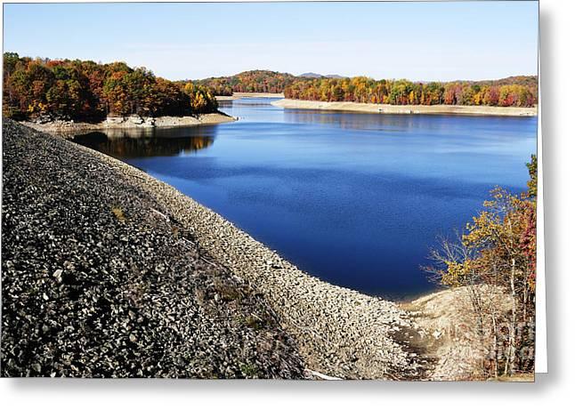 Man-made Lake Greeting Cards - Summersville Lake Autumn Greeting Card by Thomas R Fletcher