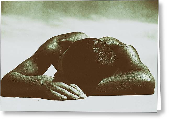 Sweating Greeting Cards - Sunbaker Greeting Card by Max Dupain