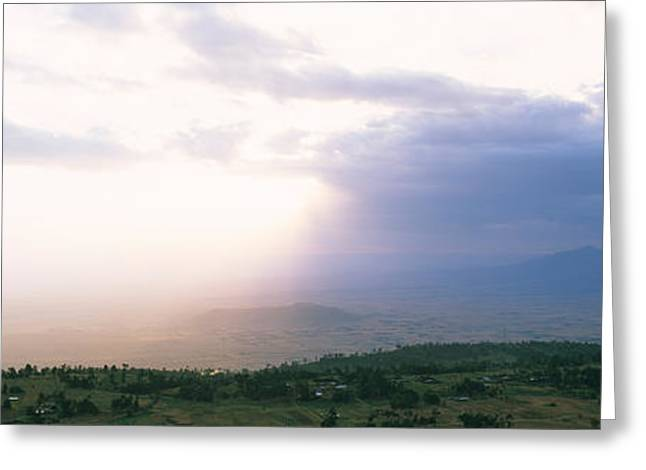 Radiates Greeting Cards - Sunbeams Radiating Through Clouds Greeting Card by Panoramic Images