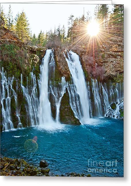 Burst Greeting Cards - Sunburst Falls - Burney Falls is one of the most beautiful waterfalls in California Greeting Card by Jamie Pham