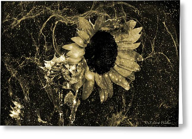 Masking Digital Art Greeting Cards - Sunflower Abstract  Greeting Card by J Larry Walker
