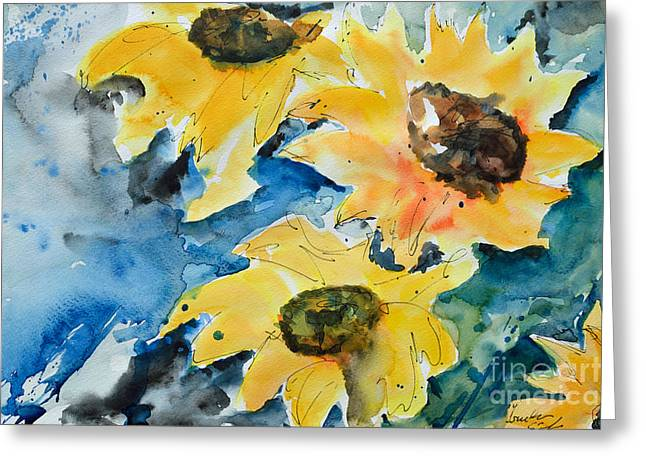 Gruenwald Greeting Cards - Sunflowers Greeting Card by Ismeta Gruenwald