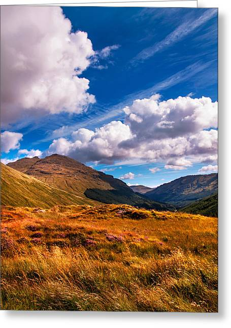 Beautiful Scenery Greeting Cards - Sunny Day at Rest and Be Thankful. Scotland Greeting Card by Jenny Rainbow