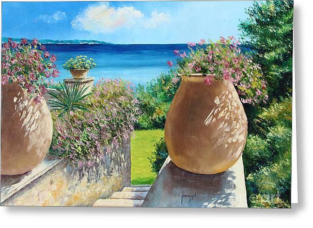 Terracotta Greeting Cards - Sunny Terrace Greeting Card by Jean-Marc Janiaczyk