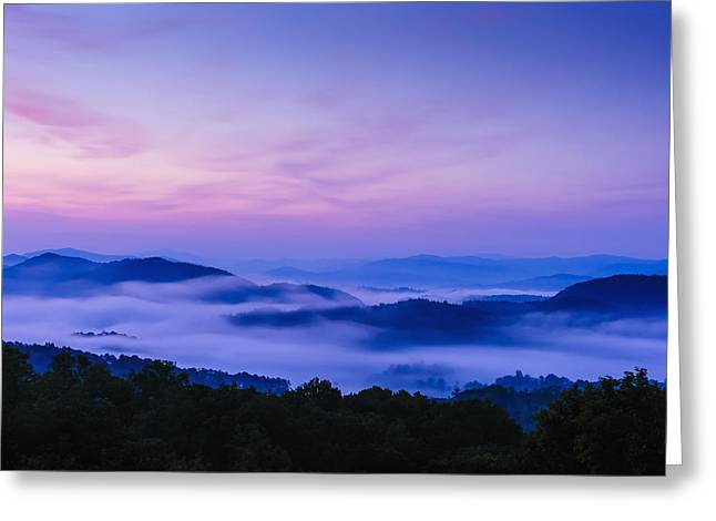 United States Of America Hazy Day Greeting Cards - Sunrise As Seen From The Overlook Greeting Card by Tom Patrick