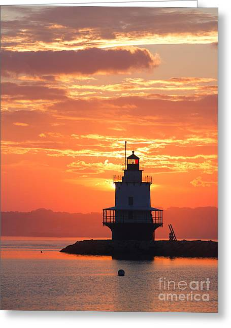 Maine Lighthouses Greeting Cards - Sunrise at Spring Point Lighthouse Greeting Card by Diane Diederich