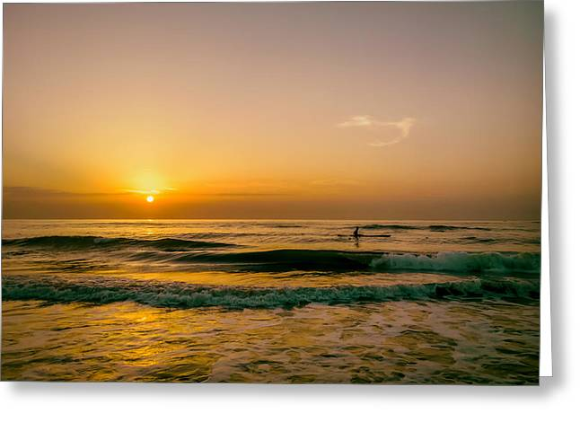 Photos Of The Ocean Greeting Cards - Sunrise Fisherman Greeting Card by Mountain Dreams