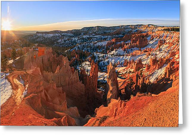 Framed Winter Snow Print Greeting Cards - Sunrise in Bryce Canyon National Park Greeting Card by Henk Meijer Photography