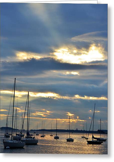Boston Ma Greeting Cards - Sunrise over the Boston Harbor Greeting Card by Toby McGuire