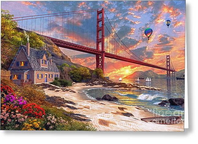 Dominic Davison Greeting Cards - Sunset At Golden Gate Greeting Card by Dominic Davison