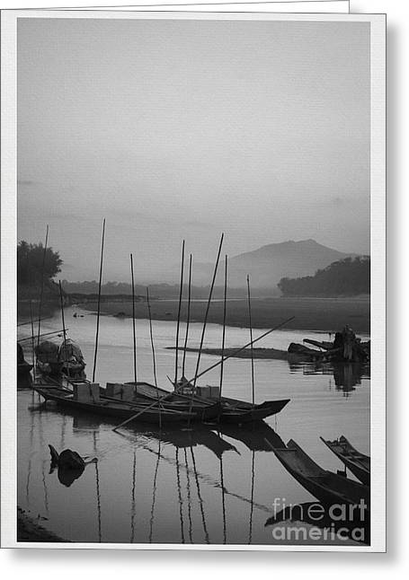 Contours Greeting Cards - sunset at Mae Khong river Greeting Card by Setsiri Silapasuwanchai