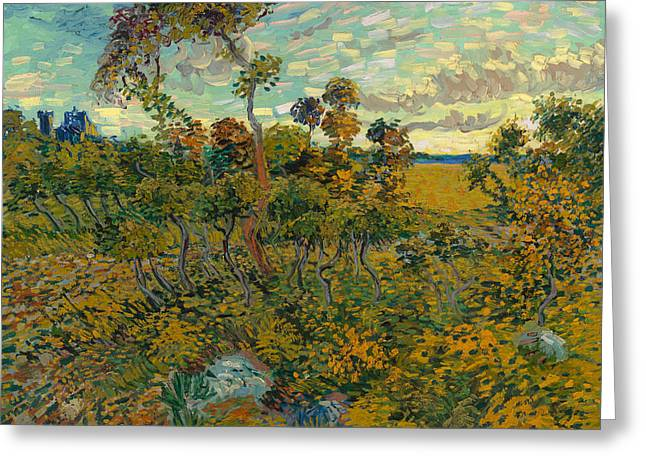 Sunset Posters Greeting Cards - Sunset at Montmajour Greeting Card by Vincent van Gogh