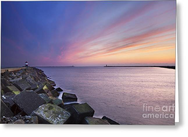 Ijmuiden Lighthouse Greeting Cards - Sunset at sea Greeting Card by Sara Winter