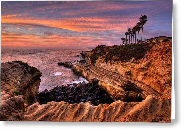 Recently Sold -  - Ocean Landscape Greeting Cards - Sunset Cliffs Greeting Card by Peter Tellone