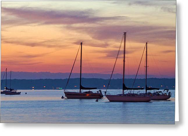 Docked Sailboat Greeting Cards - Sunset Harbor Greeting Card by Mike Griffiths