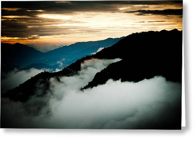 Sunset Himalayas Mountain Nepal Panaramic view Greeting Card by Raimond Klavins