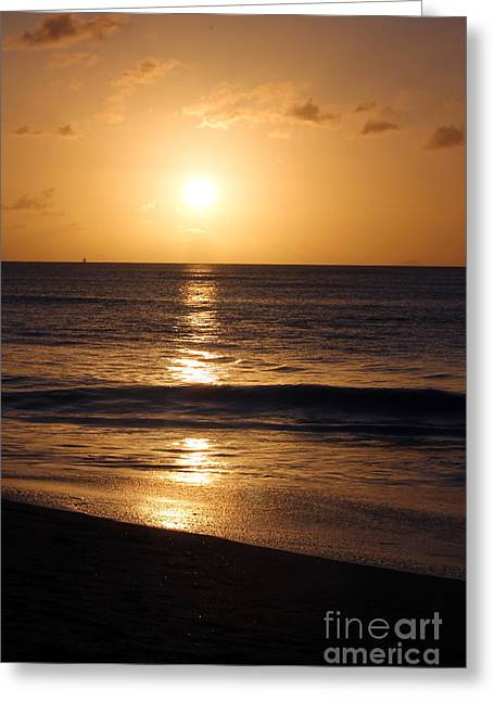 Sunset Posters Greeting Cards - Sunset in the West Indies Greeting Card by Sophie Vigneault