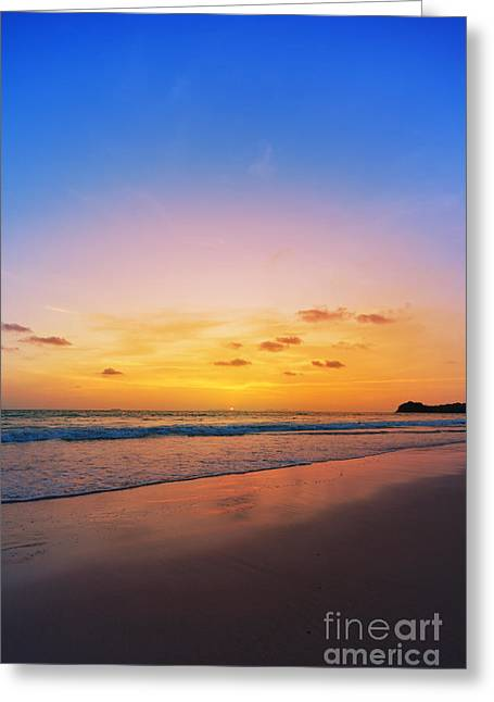 Twilight Views Greeting Cards - Sunset on phiphi island Greeting Card by Atiketta Sangasaeng