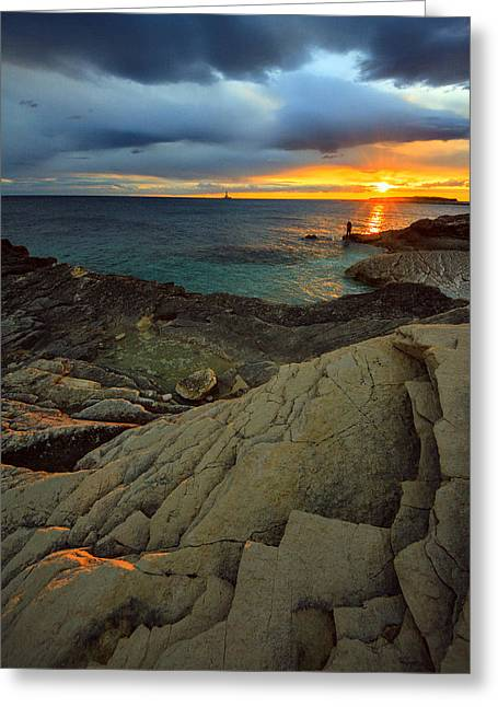 Sunset Seascape Greeting Cards - Sunset on the beach Greeting Card by Davorin Mance