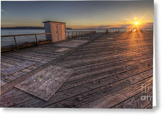 Seattle Photographs Greeting Cards - Sunset over Puget Sound Greeting Card by Twenty Two North Photography