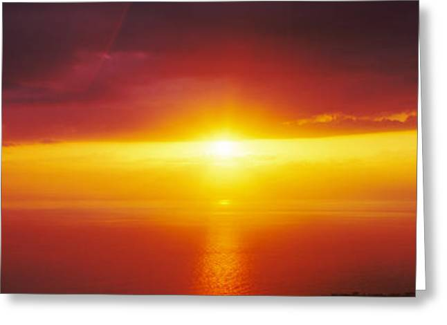 Ocean Photography Greeting Cards - Sunset Over The Pacific Ocean, Hawaii Greeting Card by Panoramic Images